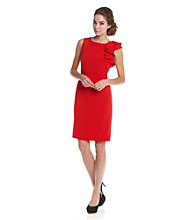 Calvin Klein Ruffle Shoulder Work Dress