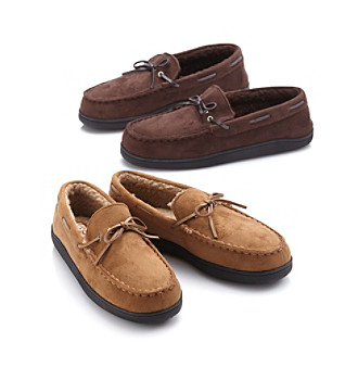Izod® Men's Microsuede Moccasin Slippers