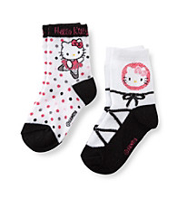 Hello Kitty® Girls' White/Black/Pink Ballet Socks 2-pk.