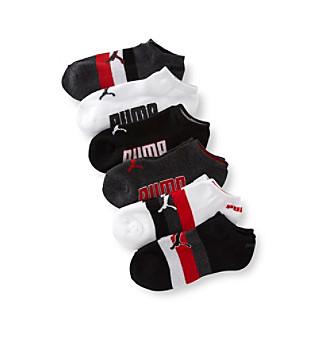 PUMA® 6-pk. Boys' White/Grey/Black Low-Cut Striped Socks