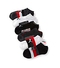 PUMA® 6-pk. Boys' White/Grey/Black Low-Cut Striped Socks