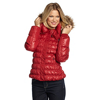 Guess Red Faux Fur-Trimmed Cire Red Quilted Jacket