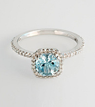 Effy® 14K White Gold Diamond & Aquamarine Ring