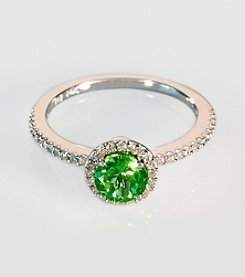 Effy® 14K White Gold Diamond & Peridot Ring
