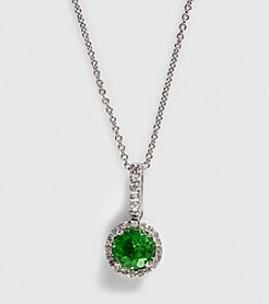 Effy® 14K White Gold Diamond & Peridot Pendant