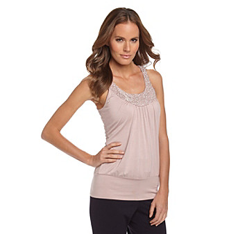 Cable & Gauge® Banded Bottom Beaded Scoopneck Tank Top