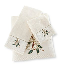 Lenox® Ribbon & Holly Ivory Bath Towel Collection