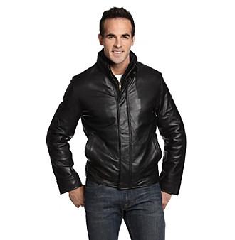 Chaps® Men's Black Double Collar Leather Jacket