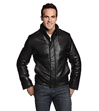Chaps® Men's Black Double Collar Leather Jacket