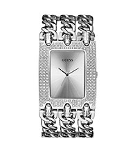 Guess Women's Silver Brilliant Rocker Metal Watch