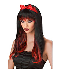 Enchanted Tresses Black and Red Synthetic Adult Wig