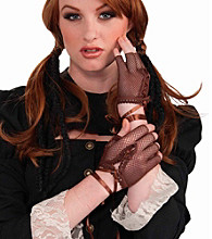 Steampunk Brown Lace Adult Gloves