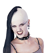 Bald Cap with Black Adult Wig