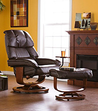 Holly & Martin™ Canyon Lake Cafe Brown Recliner and Ottoman