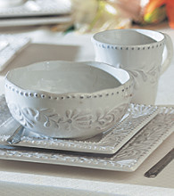 American Atelier Bianca Leaf Square 16-pc. Dinnerware Set