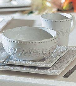 American Atelier Bianca Leaf Square 16-pc. Dinnerware Set