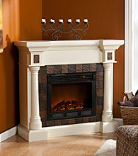 Holly & Martin™ Weatherford Faux Slate Convertible Ivory Electric Fireplace