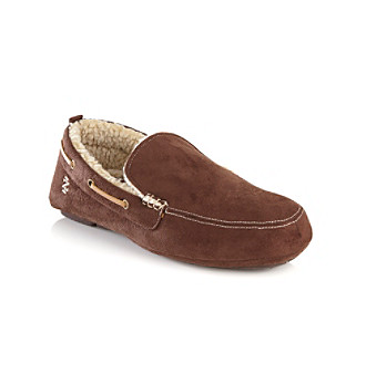 Izod® Men's Brown Microsuede Moccasin Slippers