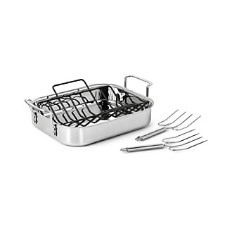 Calphalon® Tri-Ply Stainless Steel Turkey Roaster with Rack & Lifters