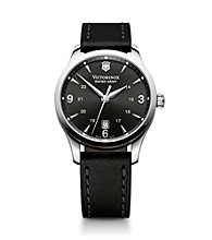 Victorinox® Swiss Army® Men's Alliance Leather Strap Watch - Black