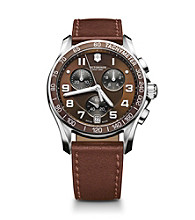 Victorinox® Swiss Army® Men's Chrono Classic Stainless Steel Dial Watch - Brown Leather