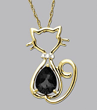 10K Gold .009 ct. t.w. Diamond Accent Black Onyx Cat Pendant