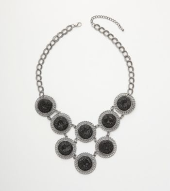 Relativity® Black Glitter Necklace - Silver