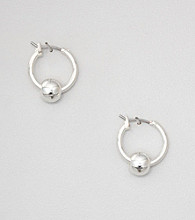 Napier® Silvertone Hoops with Metal Bead
