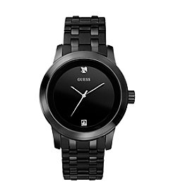 GUESS Men's Black Classic Contemporary Diamond Dress Watch