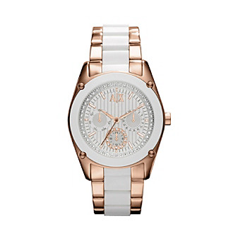 A|X Armani Exchange Ladies' White Rose Gold Stainless Steel Bracelet Watch