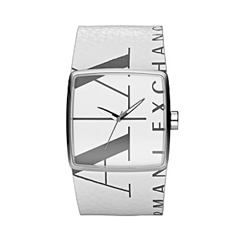 A|X Armani Exchange Men's White Leather Watch