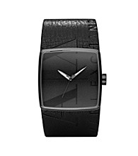 A|X Armani Exchange Leather Barrel Watch