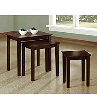 Monarch Cappuccino Oak Veneer Three Piece Nesting Table Set