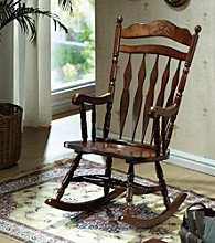 Monarch Dark Walnut Embossed Rocking Chair