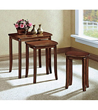 Monarch Walnut Solid Top Three Piece Nesting Table Set