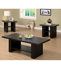 Monarch Cappuccino Hollow-Core Three Piece Occasional Table Set