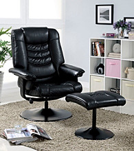Monarch Black Swivel Recliner with Ottoman