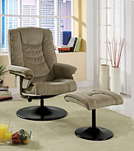 Monarch Tan Chenille Swivel Recliner with Ottoman