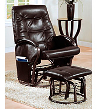 Monarch Brown Swivel Rocker Recliner with Ottoman