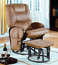 Monarch Tan Padded Micro Fibre Swivel Rocker Recliner with Ottoman