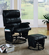 Monarch Black Swivel Rocker Recliner with Ottoman