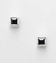 Napier® Silvertone Square Stud Earrings with Black Center