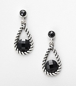 Napier® Drop Earrings with Black Accent