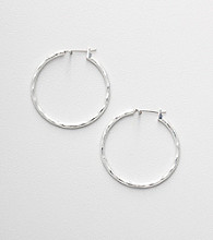 Napier® Silvertone Swirl Hoop Earrings