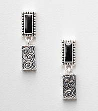 Napier® Two Tone Drop Earrings with Black Accents