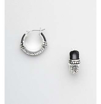 Napier® Hoop Earrings with Silvertone and Black Accents