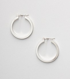 Napier® Silvertone Flat Hoop Earrings