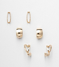 Napier® Set of 3 Pairs of Goldtone Stud Earrings