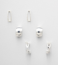 Napier® Set of 3 Pairs of Silvertone Stud Earrings