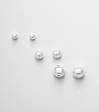 Napier® Set of 3 Pairs of Silvertone Ball Stud Earrings